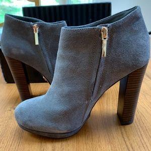 Vintage High Heel Booties Gray Leather Suede